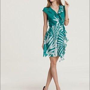 Milly Madeira green palm printed silk ruffle dress